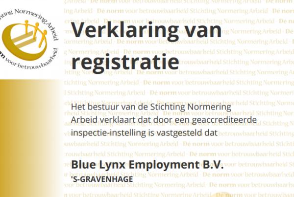 Blue Lynx's NEN 4400 Certificate