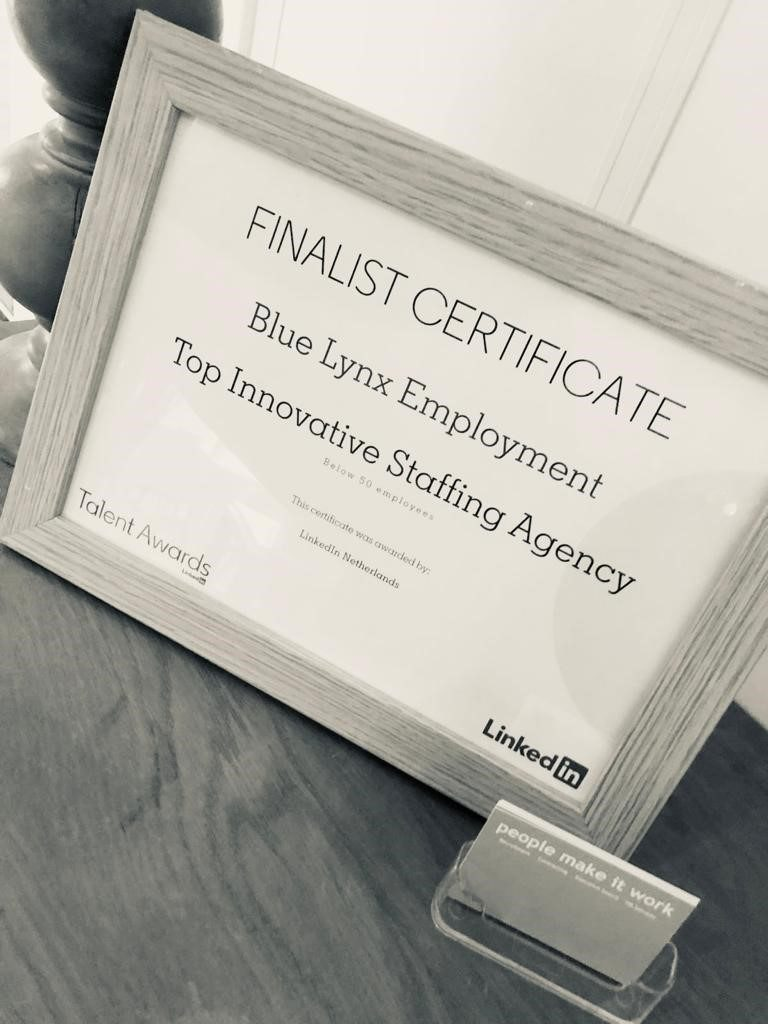 Blue Lynx was among the Top 3 Innovative Staffing Agencies in the Netherlands for 2019.
