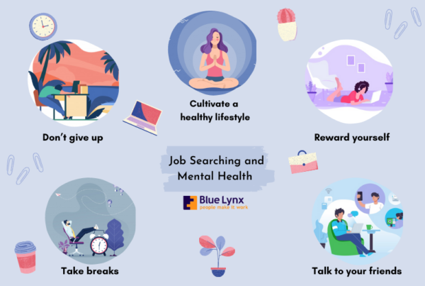 Infographic outlining the steps job seekers can take to a better mental health
